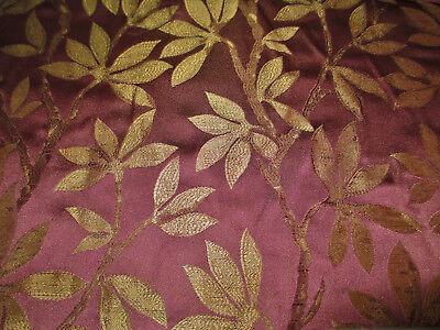 Fabric Robert Allen Beacon Hill Summer Leaves Blackberry 100% Silk Drapery JJ30 Robert Allen Drapery Fabric