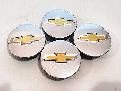 4 Factory Center Caps Chevy Bow Tie Emblem Logo SILVER Finish 2 1/4 (Impala Center Caps)