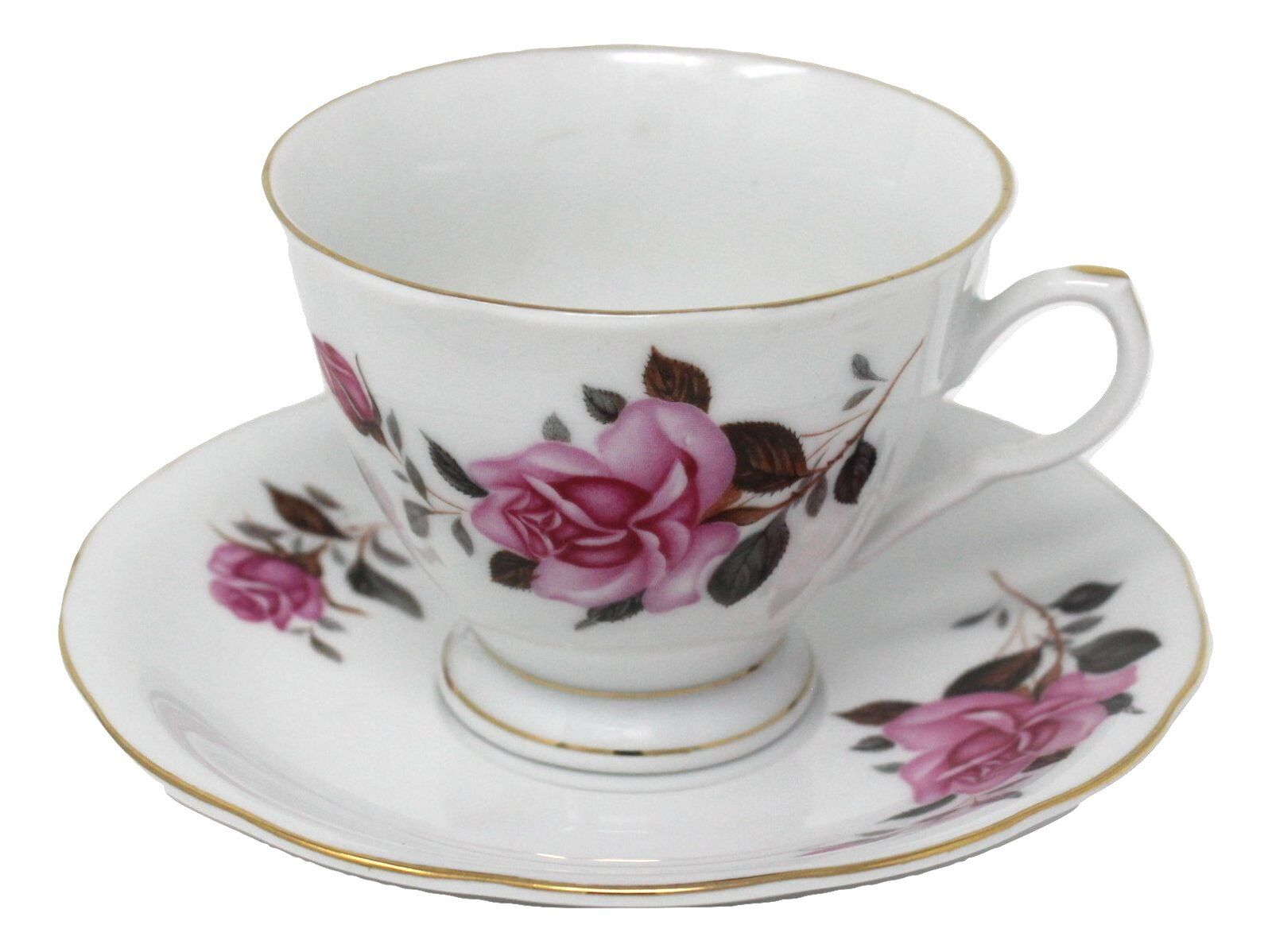 Vtg China Rose Footed Bone China Tea Cup and Saucer w/ Gold Trim