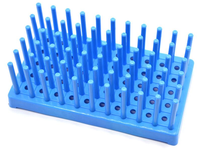 (Pack of 2) Blue Plastic Test Tube Peg Drying Rack Holds 50 16mm Test Tubes -
