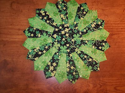 """Handmade Quilted St. Patrick's Day Table Topper, Candle Mat, Placemat, 10"""""""