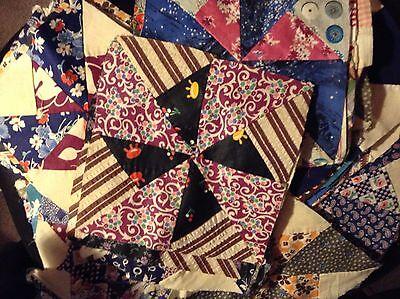 Vintage hand sewn quilt Blocks pinwheel pattern lot of 78