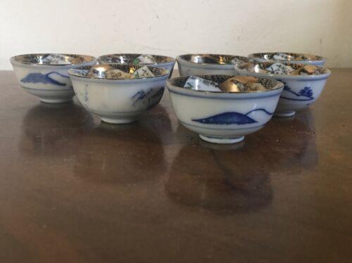Set 7 Japanese Porcelain Saki Tea Cups Imari Interior Blue & White Landscape