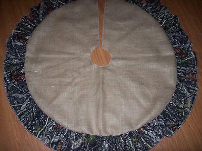 Camo Christmas Tree (BLANK-NO NAME/WORDING Custom made Christmas Tree skirt Camo burlap)