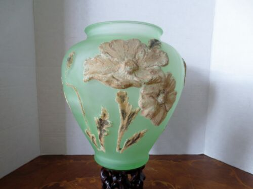 A Vintage French Art- Glass Green Vase with Raised Flowers