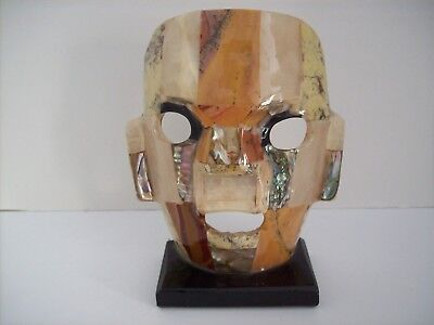 Used, Mexican Art Style Mayan Death Burial Mask Abalone Mother of Pearl In-laid  for sale  Vernon Hills