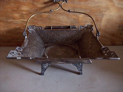 Victorian Silver Plate Pairpoint Handled Cake Basket Chinoiserie Birds Spiders