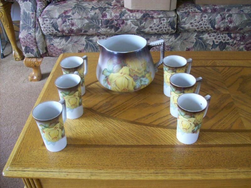Lemonade Set Pitcher & 6 Tumblers Beautiful Porcelain Yellow Roses Owen Minerva