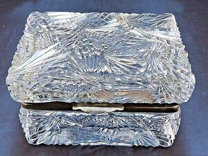 Vintage Heavily Cut Glass Crystal Hinged Casket Trinket Jewelry Box
