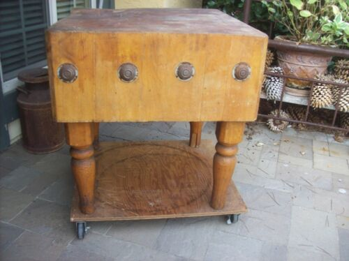 Vintage Maple Butcher Block Table, Kitchen Island Late 1800s