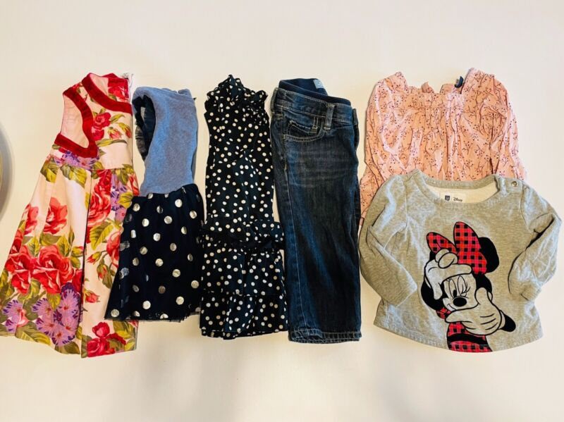 Baby Gap Lot Of 6 Items Baby Girl 18-24 Months Dress Jeans Tops Minnie Mouse