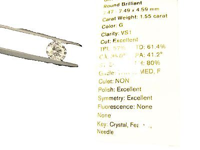 GIA ROUND BRILLIANT DIAMOND G VS1 TRIPLE EXCELLENT LOOSE DIAMOND GIA CERTIFIED