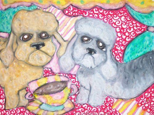 DANDIE DINMONT TERRIER Drinking Coffee Dog Pop Vintage Art 8 x 10 Signed Print