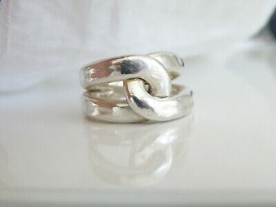 Vintage Big Twisted Sterling Silver Infinity Love Knot Electroform Ring Fits 7.5