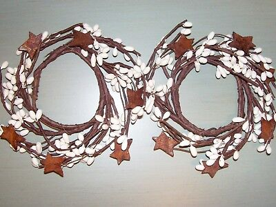2 Pip Berry Candle Rings Spring Wreath Ivory white 2