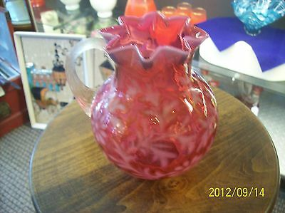 - Fenton / L.G. Wright Daisy & Fern Cranberry Opal Small Jug / Pitcher
