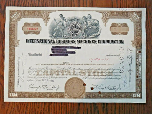 IBM STOCK CERTIFICATE 1960 1 SHARE BROWN OLD STYLE, NICE VIGNETTE, GIFT IDEA!