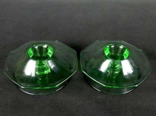 Fostoria Fairfax Octagon Mushroom Candle Holders, Green Depression Glass, 1930s