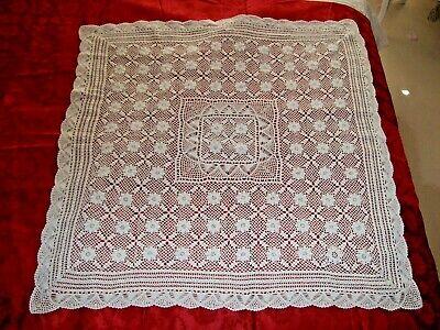 Beautiful,Vintage Hand Crochet Tablecloth,White, Cotton-44