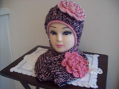 Rose Beanie Hat - Rose and Black Handmade Beanie Winter Hat Scarf Set Valentine Gift Skiing Wear