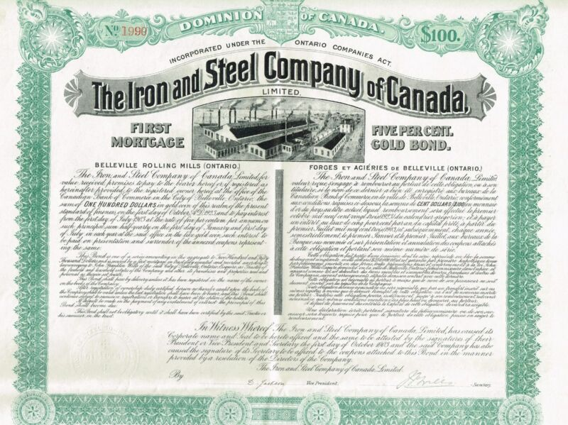 CANADA IRON & STEEL COMPANY GOLD BOND stock certificate 1903