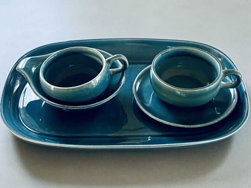 VINTAGE MCM RUSSEL WRIGHT STEUBENVILLE AMERICAN MODERN 5 PC SET TRAY, CUP DISH
