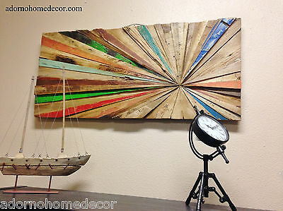 Rustic Reclaimed Teak Wood Abstract Wall Decor Art Antique Shabby Distressed