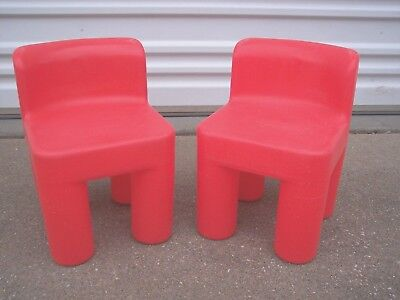 Retired Little Tikes 2 RED Plastic CHUNKY Child Size Chairs
