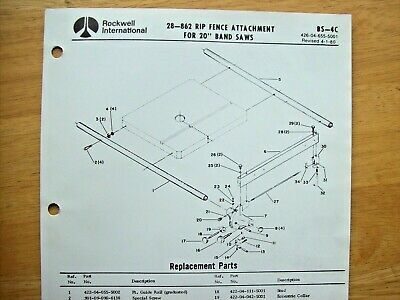 Rockwell 28-862 Rip Fence Attachment For 20 Band Saw Parts List Bs-4c