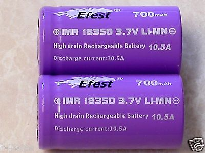 2 EFEST IMR 18350 BATTERY LI-MN 700mAh 3.7v 10.5A HIGH DRAIN V1 FLAT TOP PURPLE