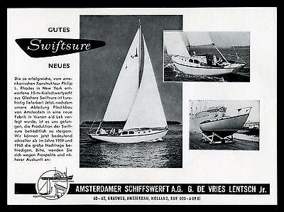 Grosse Werbung 1961 10m Kielschwert-Yacht Vries Lentsch Amsterdam Schiffswerft