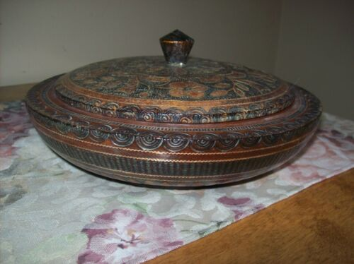 Vintage Handmade Solid Wood Decorative Inlay Bowl and Lid Hand Carved