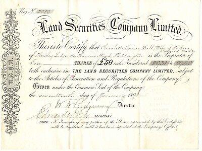 UNITED KINGDOM 1893 THE LAND SECURITIES COMPANY Ltd. London Zertifikat 10 Aktien