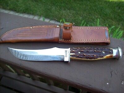 "Vintage Case Knife Rare Skinner 6"" Blade Round Pommel Gnarly Stag Orig. Sheath"