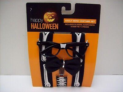 Nerd Adult Costume Accessory Set- Skeleton Suspenders Bow Tie & Glasses - NEW (Nerd Suspenders)