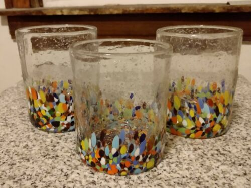 Anthropologie Baja Confetti Hand Blown Drinking Glass Set Of 3 Rocks Tumblers