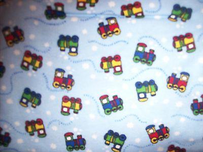 blue cotton flannel Cho Cho Train  child size 54 x 43 person