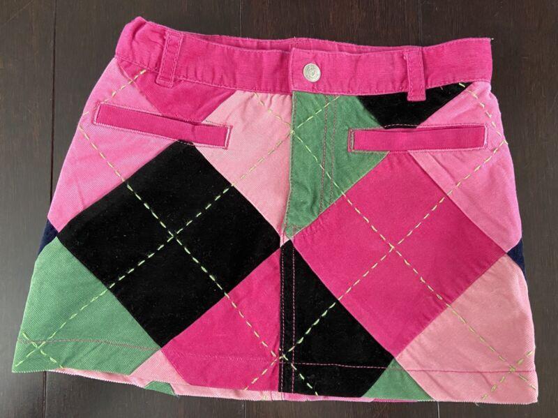 Lilly Pulitzer 2T Girls Corduroy Skirt Navy Blue Pink Green Argyle