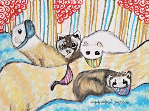 Ferret in Quarantine Original 9 x 12 Pastel Painting Small Pet Collectible Art