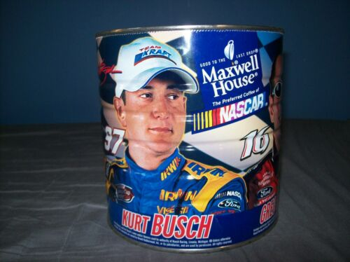 MAXWELL HOUSE NASCAR MATT KENSETH KURT BUSCH GREG BIFFLE JEEF BURTON COFFEE CAN