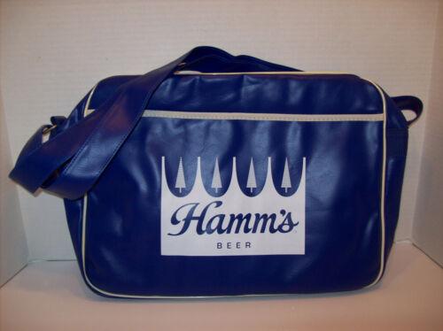 New Hamms Beer Insulated Cooler Vinyl Bag Blue Soft Side Zips Handles +Bonus