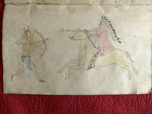 Original 1899 Native American Indian Ledger Drawing  Signed with provenance