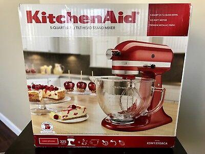 New KitchenAid Artisan 5 Quart Glass Bowl Candy Apple Red Stand Mixer KSM155GBCA
