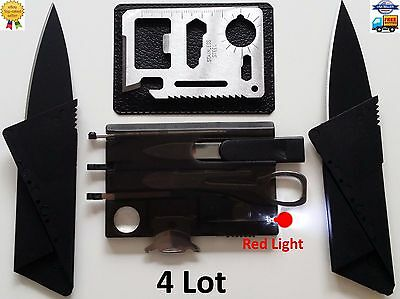 Bottle Openers In Bulk (Credit Card Knife 11 in 1 multi tool Swiss style survival pocket thin RED)