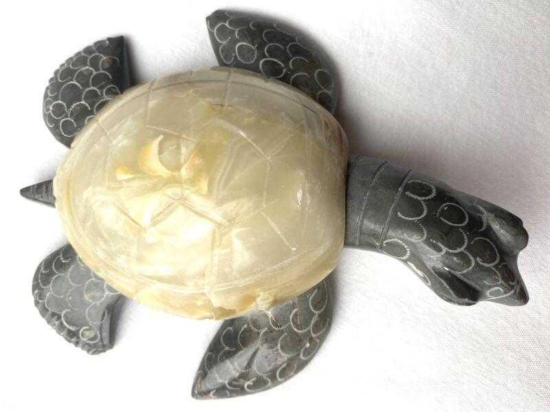 """Unique Hand Carved Marble Stone Cream Sea Turtle Figurine Carving 5"""" Long New"""