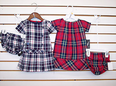 Infant Girls Nautica $36.50 Navy Or Red Plaid Dress w/Bloomers Size 12Mt.-24Mt.