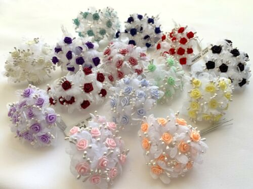Mini Satin Roses with Tulle & Pips Wire Stems Flowers Craft Favors Small 144 pcs