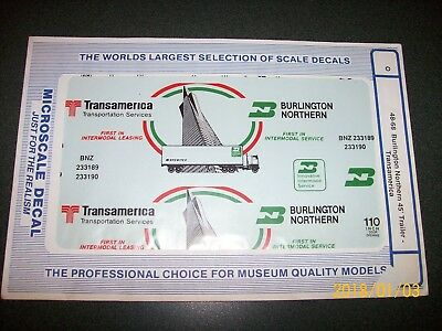 "Microscale O Decals BN ""Transamerica"" 45' Trailer Atlas MTH Bowser 48-68"