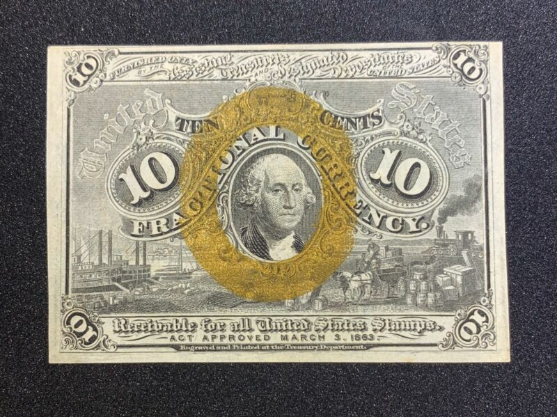 Fractional Currency Second Issue 10c FR1245 CH CU+ Nice Color BOLD GOLD!