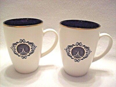 2 Paris Eiffel Tower Black And White Gold Rim Ceramic Latte Coffee Mugs 12oz